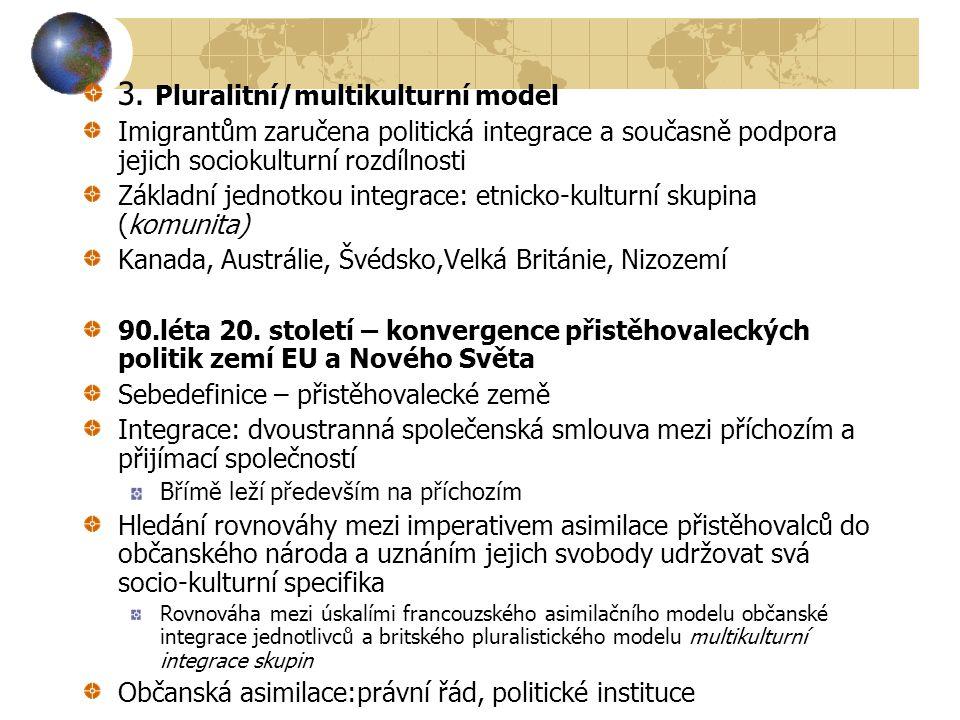 3. Pluralitní/multikulturní model Imigrantům zaručena politická integrace a současně podpora jejich sociokulturní rozdílnosti Základní jednotkou integ