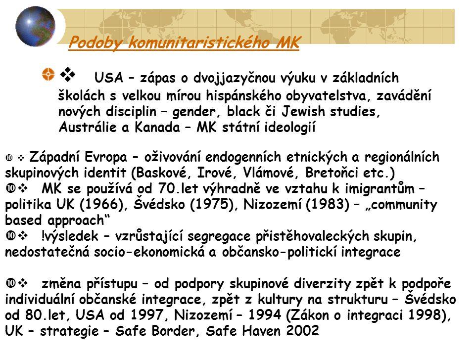 """Podoby komunitaristického MK  USA – zápas o dvojjazyčnou výuku v základních školách s velkou mírou hispánského obyvatelstva, zavádění nových disciplin – gender, black či Jewish studies, Austrálie a Kanada – MK státní ideologií  Západní Evropa – oživování endogenních etnických a regionálních skupinových identit (Baskové, Irové, Vlámové, Bretoňci etc.)  MK se používá od 70.let výhradně ve vztahu k imigrantům – politika UK (1966), Švédsko (1975), Nizozemí (1983) – """"community based approach  !výsledek – vzrůstající segregace přistěhovaleckých skupin, nedostatečná socio-ekonomická a občansko-politickí integrace  změna přístupu – od podpory skupinové diverzity zpět k podpoře individuální občanské integrace, zpět z kultury na strukturu – Švédsko od 80.let, USA od 1997, Nizozemí – 1994 (Zákon o integraci 1998), UK – strategie – Safe Border, Safe Haven 2002"""