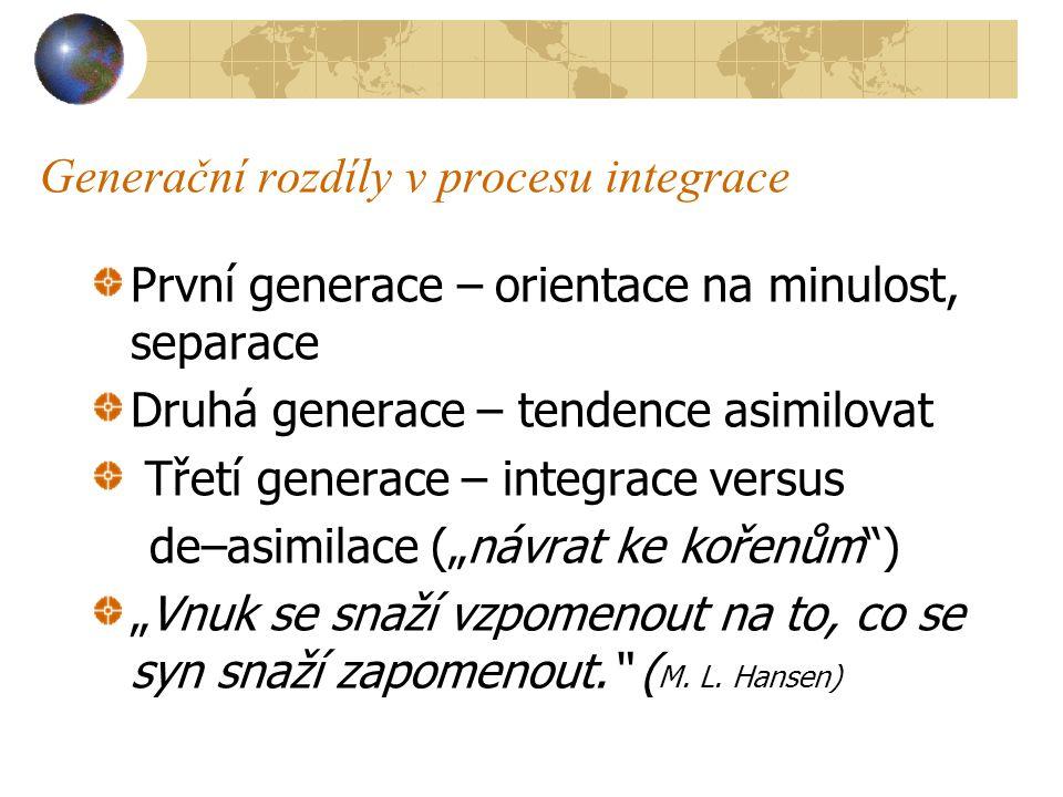 Generační rozdíly v procesu integrace První generace – orientace na minulost, separace Druhá generace – tendence asimilovat Třetí generace – integrace