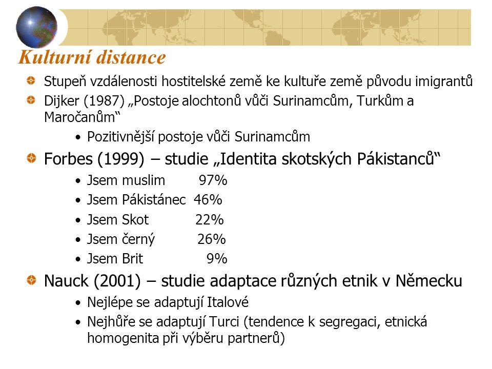 """Kulturní distance Stupeň vzdálenosti hostitelské země ke kultuře země původu imigrantů Dijker (1987) """"Postoje alochtonů vůči Surinamcům, Turkům a Maročanům Pozitivnější postoje vůči Surinamcům Forbes (1999) – studie """"Identita skotských Pákistanců Jsem muslim 97% Jsem Pákistánec 46% Jsem Skot 22% Jsem černý 26% Jsem Brit 9% Nauck (2001) – studie adaptace různých etnik v Německu Nejlépe se adaptují Italové Nejhůře se adaptují Turci (tendence k segregaci, etnická homogenita při výběru partnerů)"""