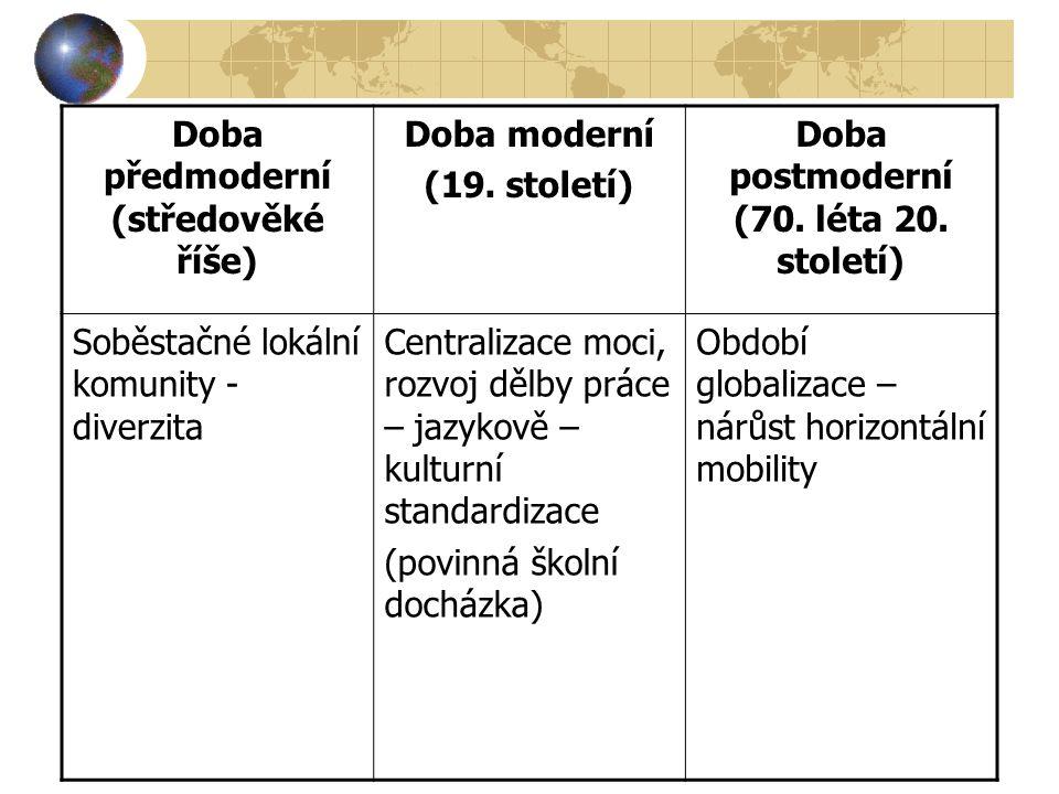 Doba předmoderní (středověké říše) Doba moderní (19. století) Doba postmoderní (70. léta 20. století) Soběstačné lokální komunity - diverzita Centrali