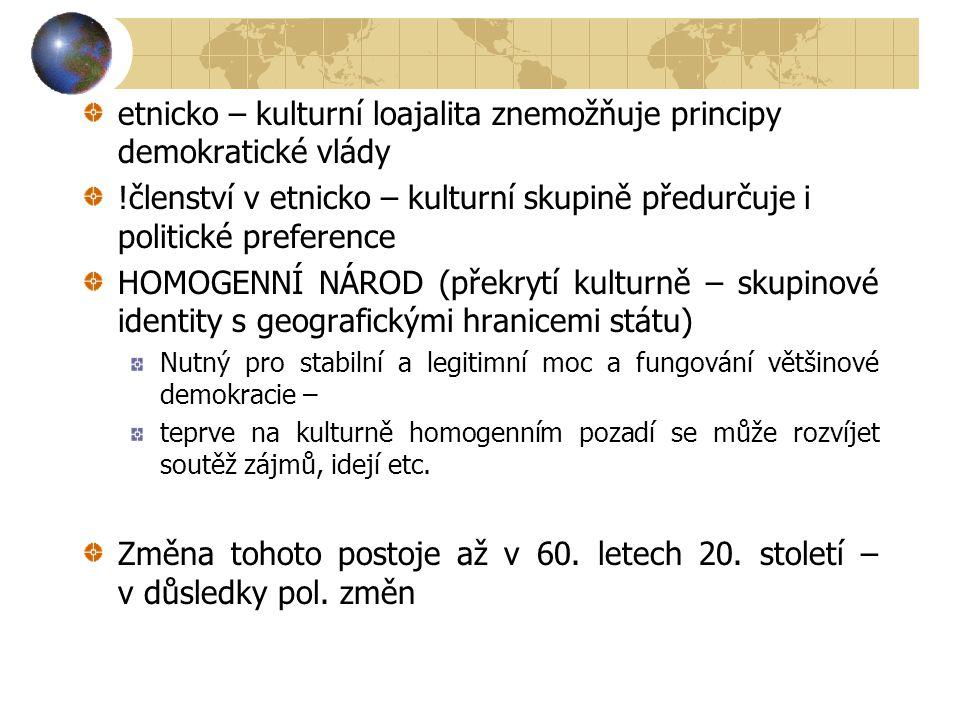 etnicko – kulturní loajalita znemožňuje principy demokratické vlády !členství v etnicko – kulturní skupině předurčuje i politické preference HOMOGENNÍ