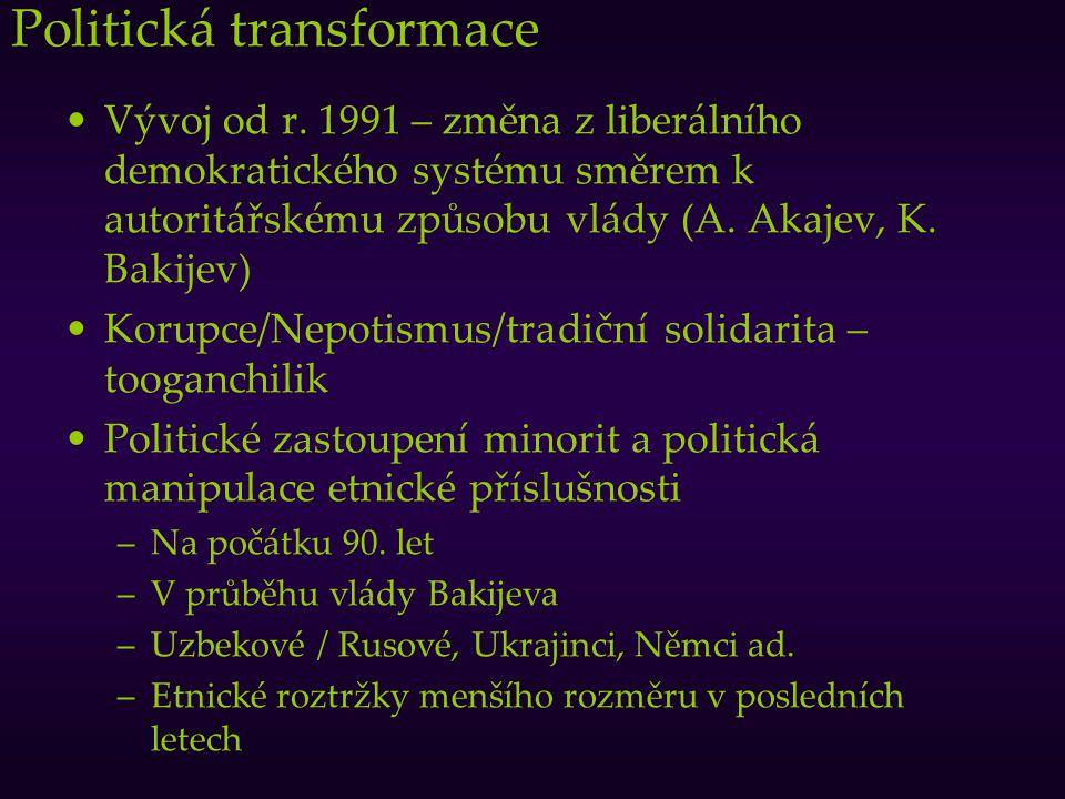 Politická transformace Vývoj od r. 1991 – změna z liberálního demokratického systému směrem k autoritářskému způsobu vlády (A. Akajev, K. Bakijev) Kor