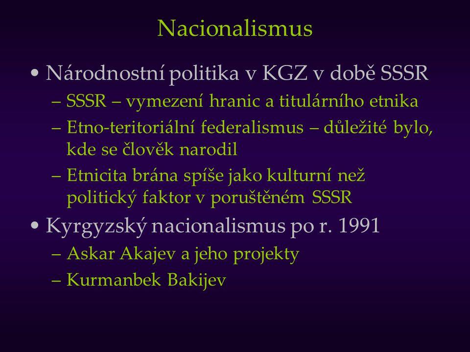 Nacionalismus Národnostní politika v KGZ v době SSSR –SSSR – vymezení hranic a titulárního etnika –Etno-teritoriální federalismus – důležité bylo, kde