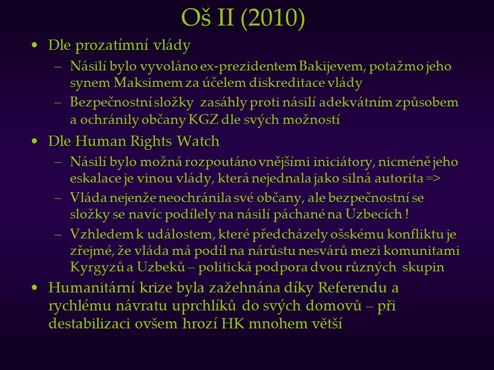 Oš II (2010) Dle prozatímní vládyDle prozatímní vlády –Násilí bylo vyvoláno ex-prezidentem Bakijevem, potažmo jeho synem Maksimem za účelem diskredita