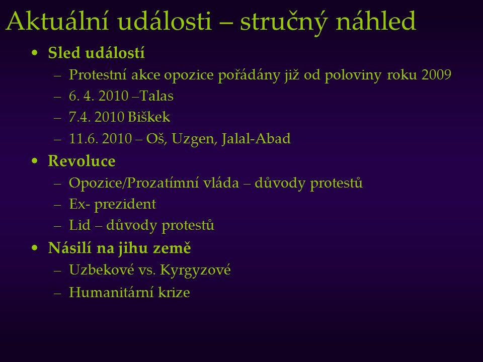 Aktuální události – stručný náhled Sled událostí –Protestní akce opozice pořádány již od poloviny roku 2009 –6. 4. 2010 –Talas –7.4. 2010 Biškek –11.6