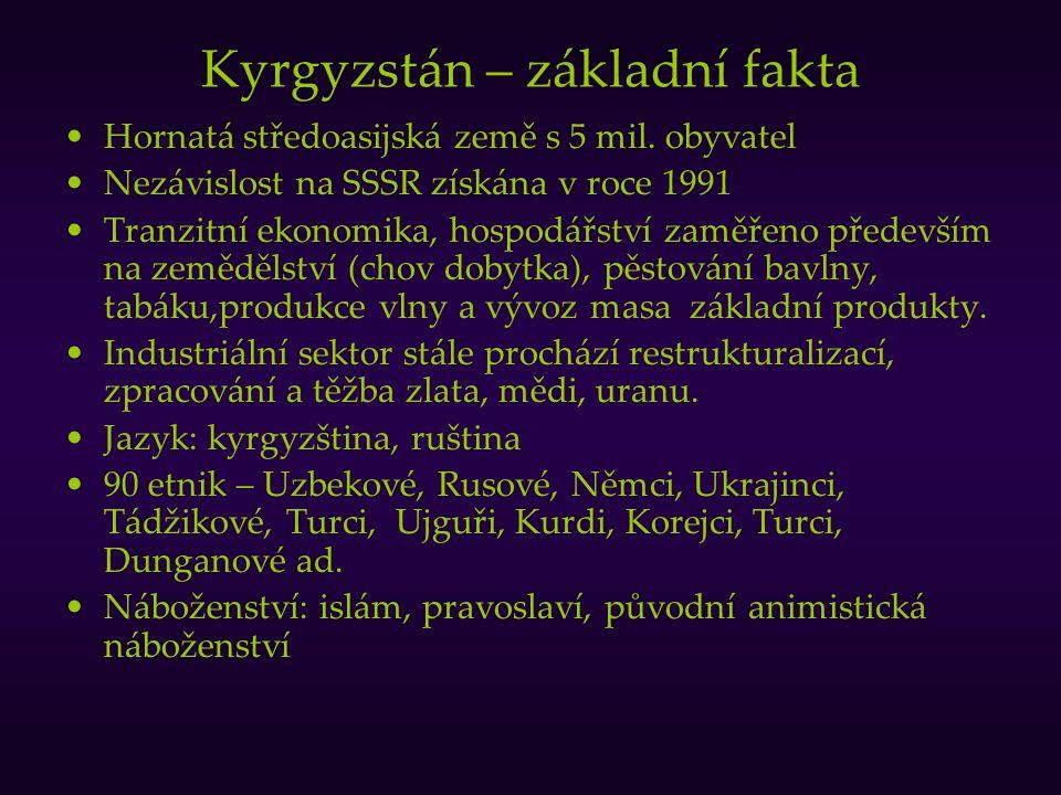 Kyrgyzstán – základní fakta Hornatá středoasijská země s 5 mil. obyvatel Nezávislost na SSSR získána v roce 1991 Tranzitní ekonomika, hospodářství zam