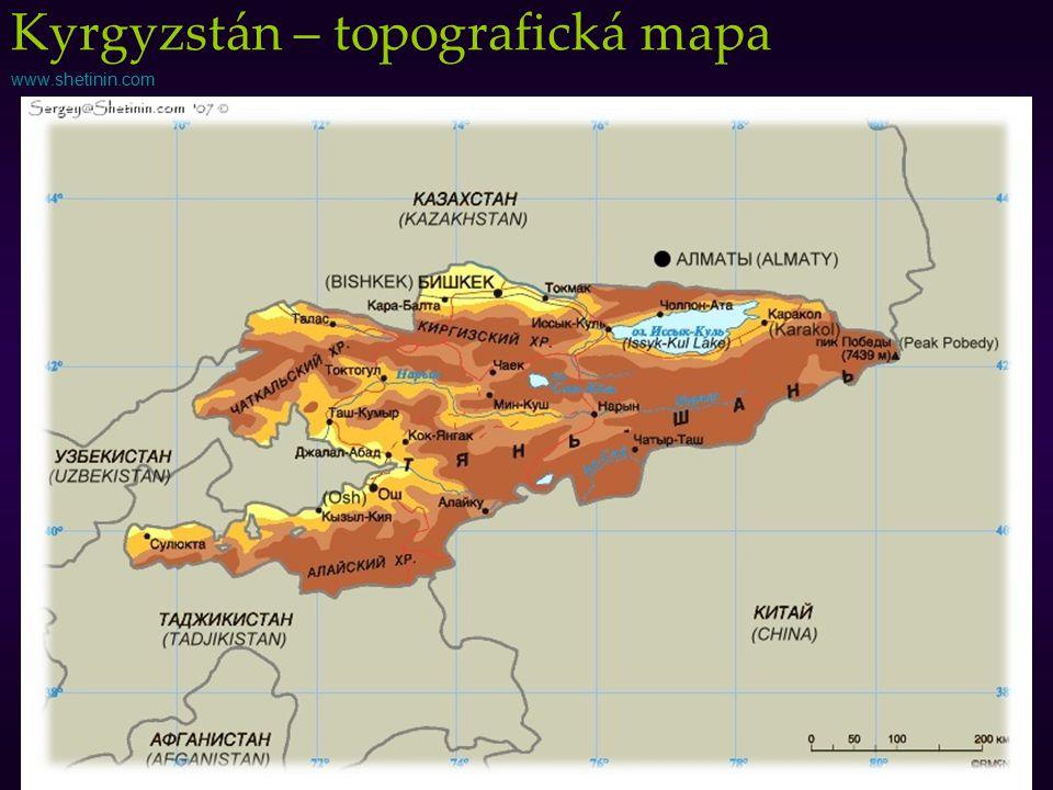 www.shetinin.com Kyrgyzstán – topografická mapa