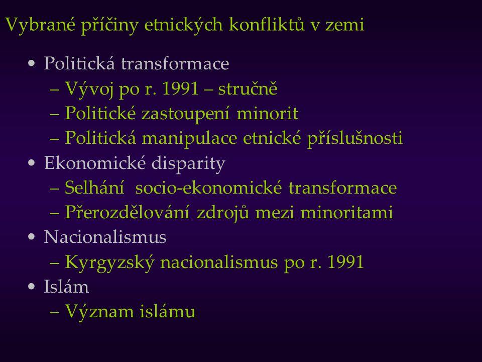 Vybrané příčiny etnických konfliktů v zemi Politická transformace –Vývoj po r. 1991 – stručně –Politické zastoupení minorit –Politická manipulace etni