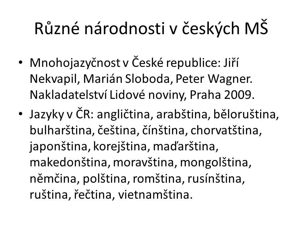 Různé národnosti v českých MŠ Mnohojazyčnost v České republice: Jiří Nekvapil, Marián Sloboda, Peter Wagner. Nakladatelství Lidové noviny, Praha 2009.