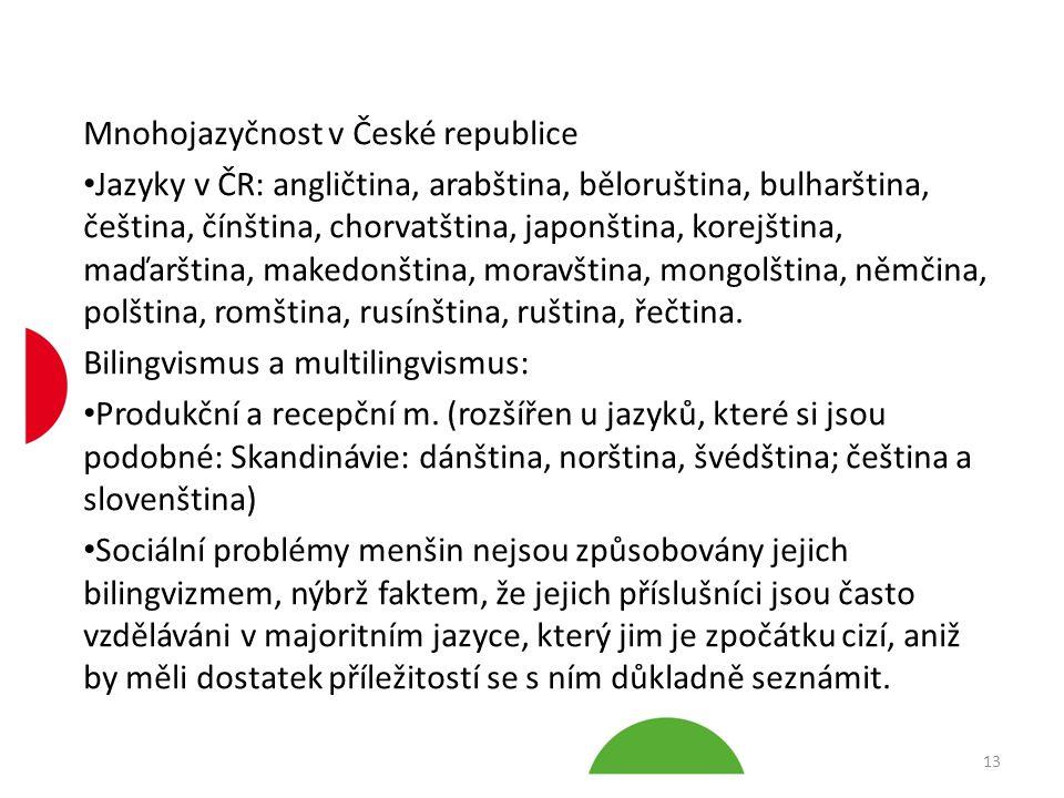 Mnohojazyčnost v České republice Jazyky v ČR: angličtina, arabština, běloruština, bulharština, čeština, čínština, chorvatština, japonština, korejština