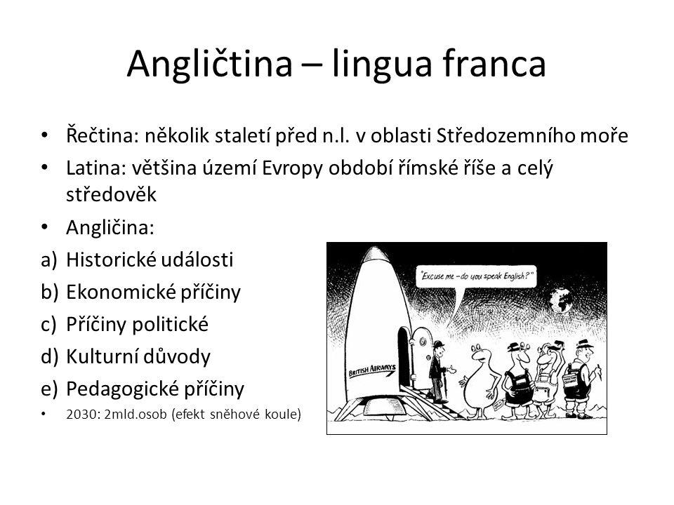 Angličtina – lingua franca Řečtina: několik staletí před n.l. v oblasti Středozemního moře Latina: většina území Evropy období římské říše a celý stře