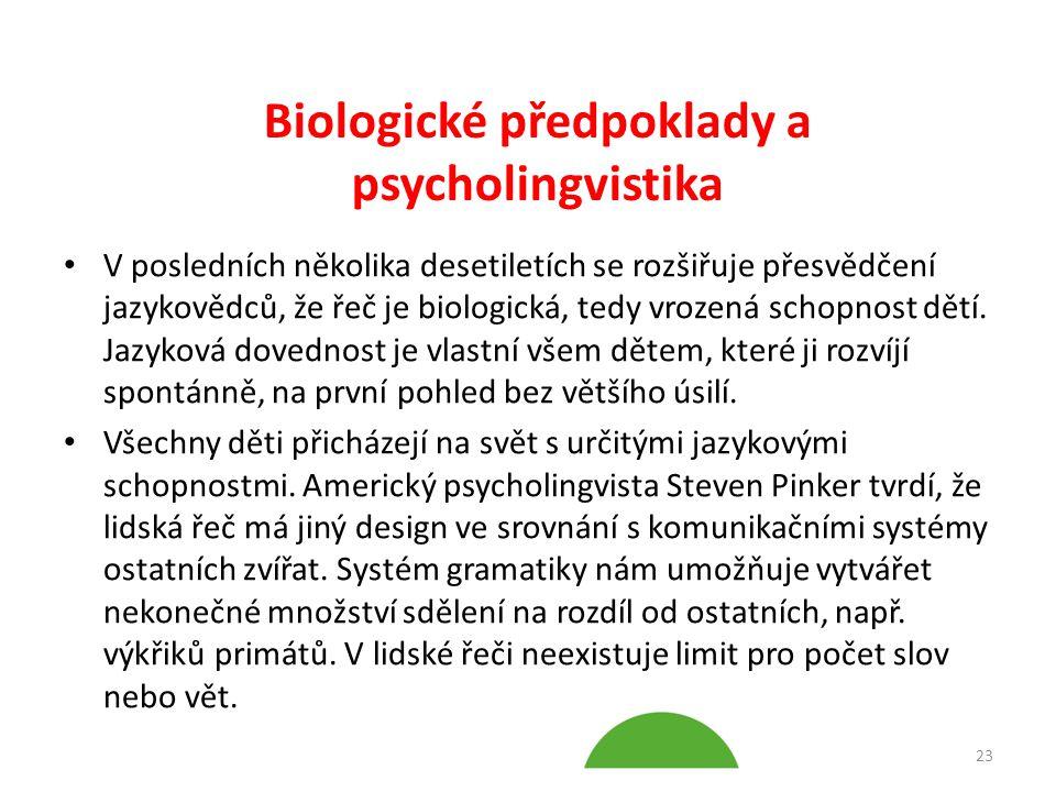 Biologické předpoklady a psycholingvistika V posledních několika desetiletích se rozšiřuje přesvědčení jazykovědců, že řeč je biologická, tedy vrozená