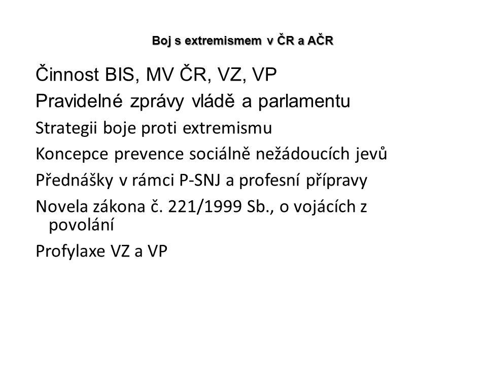 Boj s extremismem v ČR a AČR Činnost BIS, MV ČR, VZ, VP Pravidelné zprávy vládě a parlamentu Strategii boje proti extremismu Koncepce prevence sociáln
