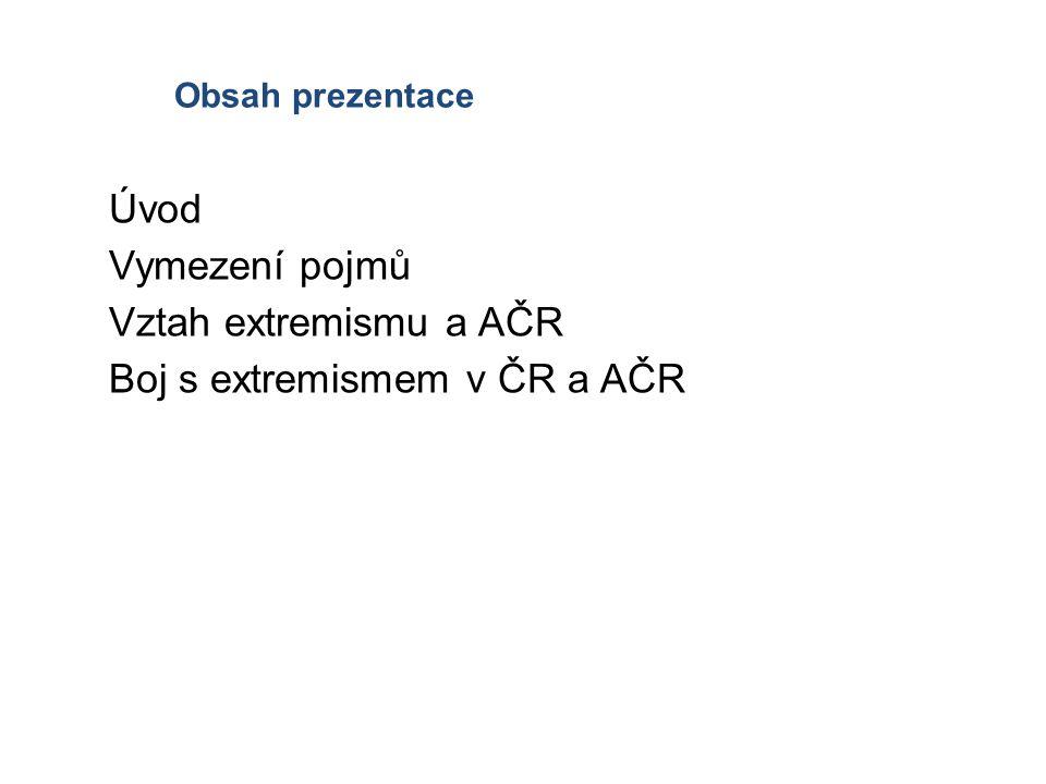 Obsah prezentace Úvod Vymezení pojmů Vztah extremismu a AČR Boj s extremismem v ČR a AČR