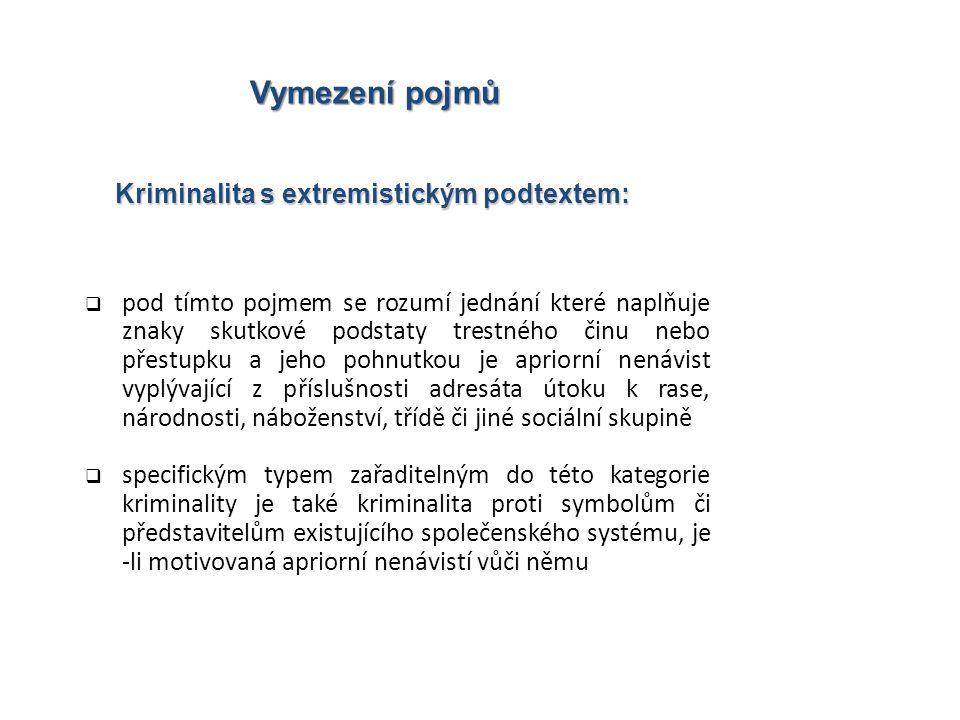 Kriminalita s extremistickým podtextem: Vymezení pojmů  pod tímto pojmem se rozumí jednání které naplňuje znaky skutkové podstaty trestného činu nebo