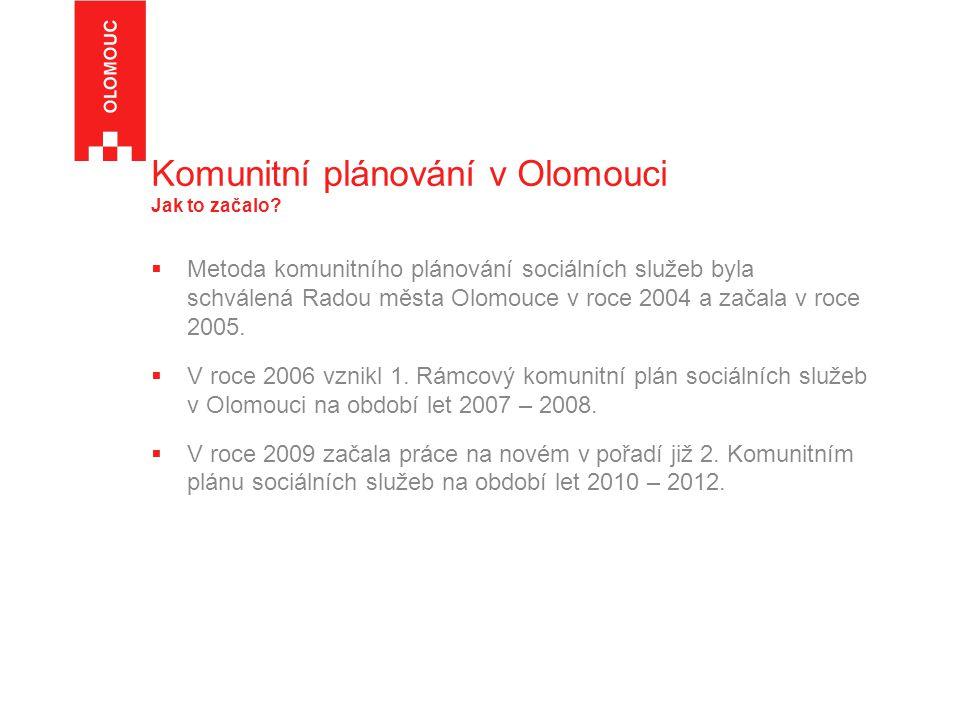 Komunitní plánování v Olomouci Jak to začalo?  Metoda komunitního plánování sociálních služeb byla schválená Radou města Olomouce v roce 2004 a začal