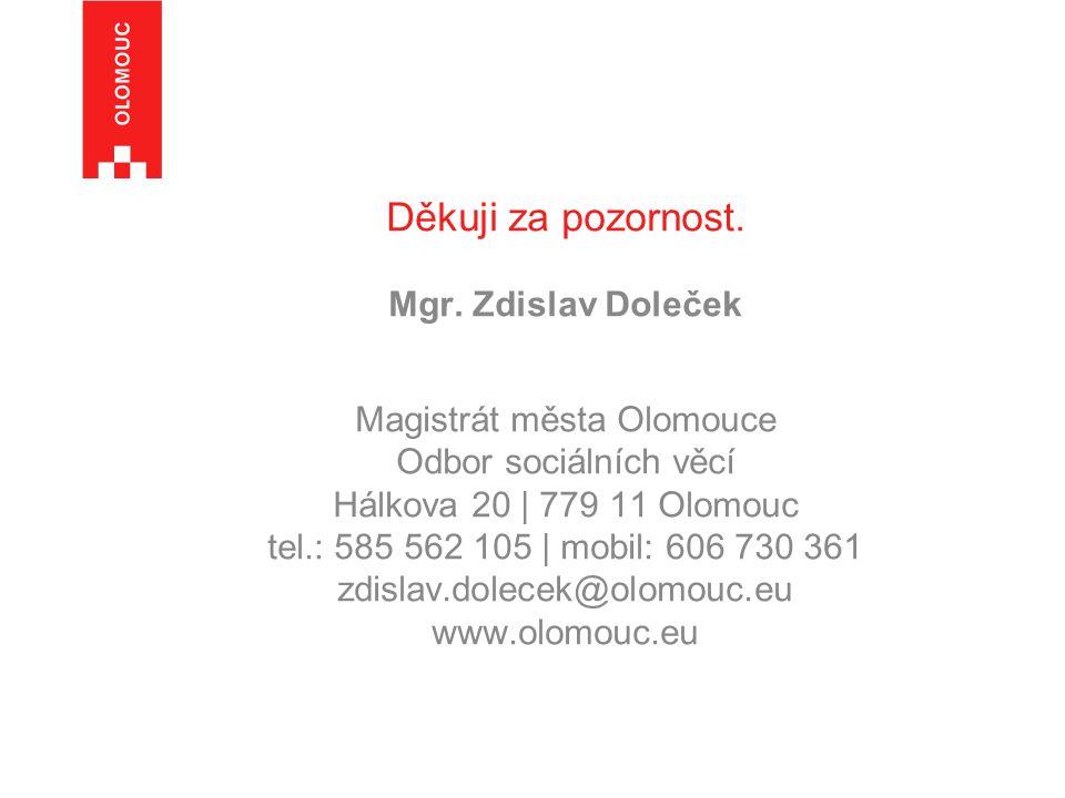 Děkuji za pozornost. Mgr. Zdislav Doleček Magistrát města Olomouce Odbor sociálních věcí Hálkova 20   779 11 Olomouc tel.: 585 562 105   mobil: 606 73