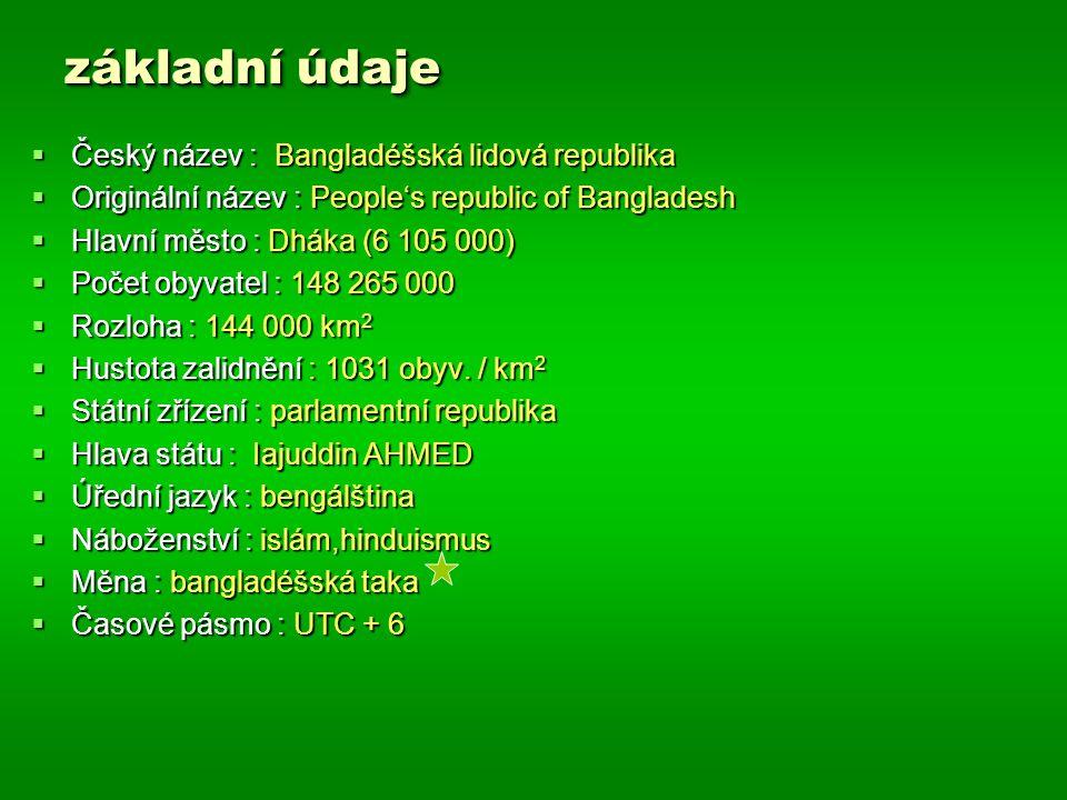 základní údaje  Český název : Bangladéšská lidová republika  Originální název : People's republic of Bangladesh  Hlavní město : Dháka (6 105 000) 