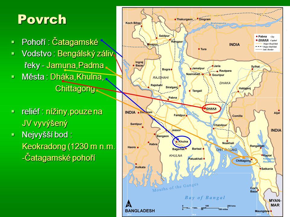 Povrch  Pohoří : Čatagamské  Vodstvo : Bengálský záliv řeky - Jamuna,Padma řeky - Jamuna,Padma  Města : Dháka,Khulna, Chittagong Chittagong  relié