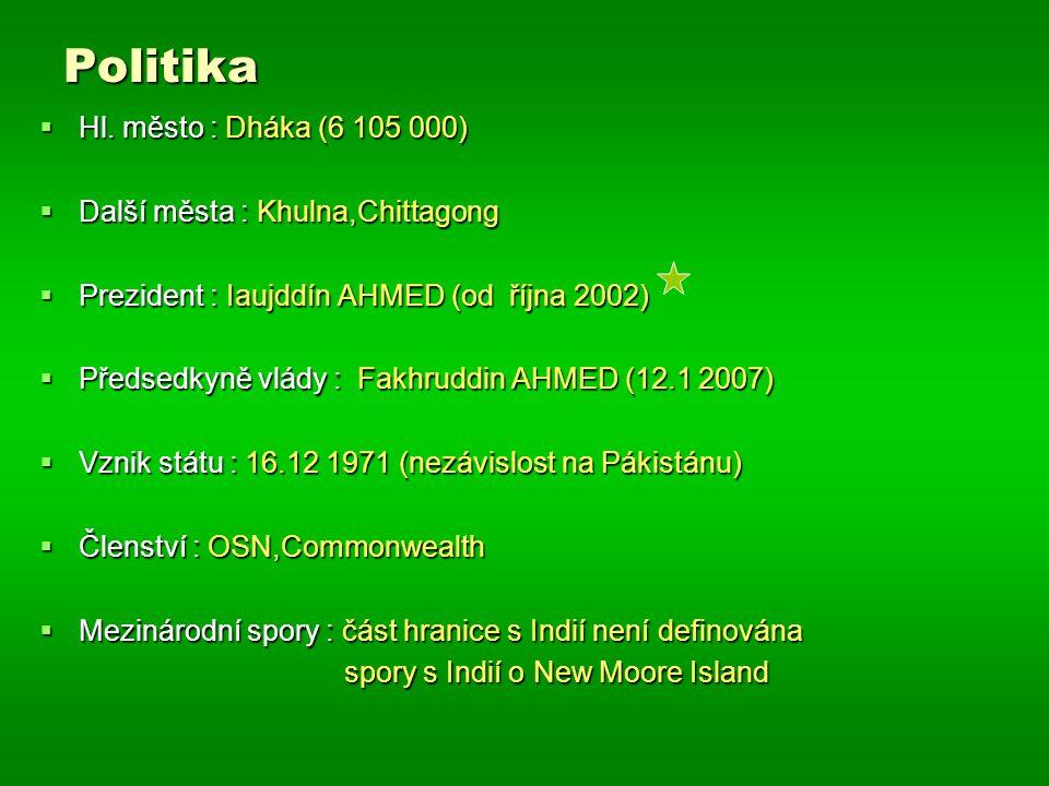 Politika  Hl. město : Dháka (6 105 000)  Další města : Khulna,Chittagong  Prezident : Iaujddín AHMED (od října 2002)  Předsedkyně vlády : Fakhrudd