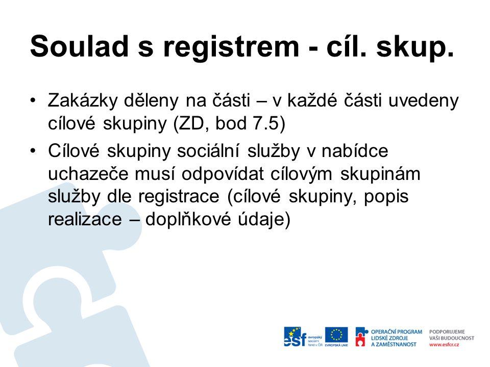 Soulad s registrem - cíl. skup.