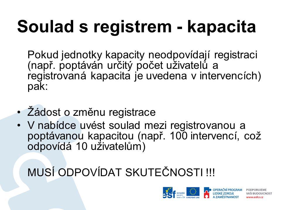 Soulad s registrem - kapacita Pokud jednotky kapacity neodpovídají registraci (např.