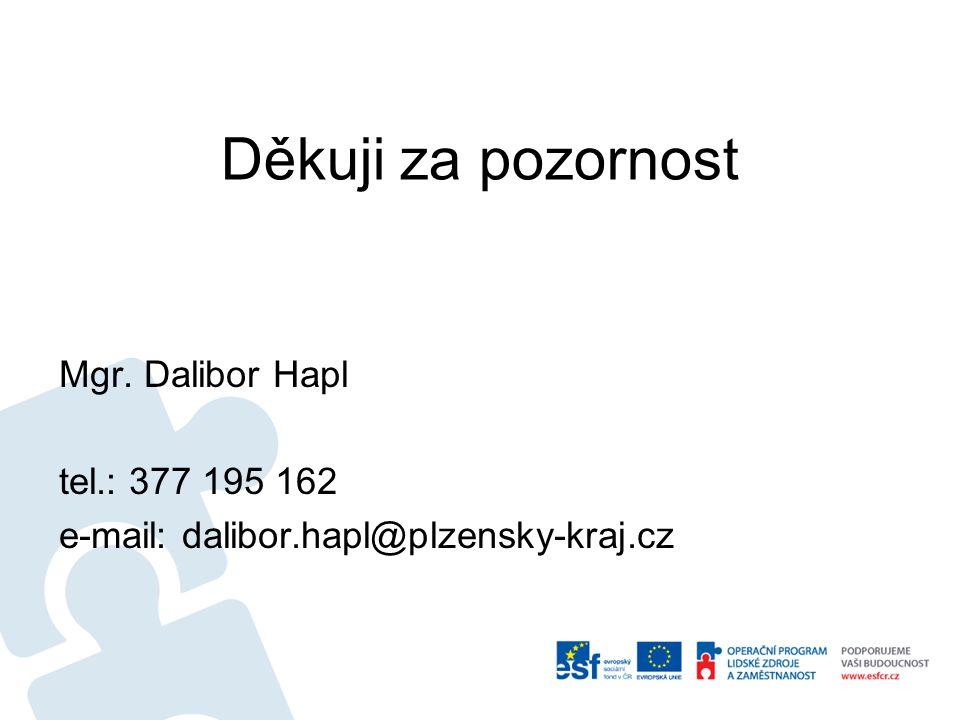 Děkuji za pozornost Mgr. Dalibor Hapl tel.: 377 195 162 e-mail: dalibor.hapl@plzensky-kraj.cz