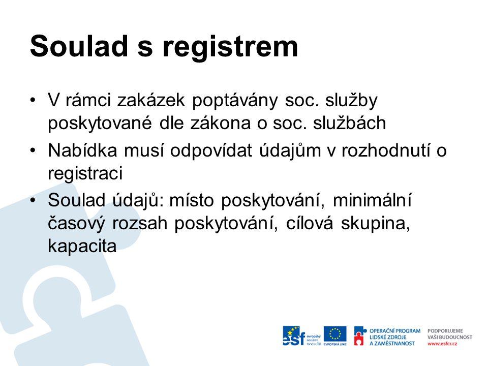 Soulad s registrem - místo Zakázky děleny na části – v každé části uvedeno místo poskytování (ZD, bod 7.1) Místo poskytování sociální služby v nabídce uchazeče musí odpovídat místu poskytování služby dle registrace (působnost služby, popis realizace – doplňkové údaje)