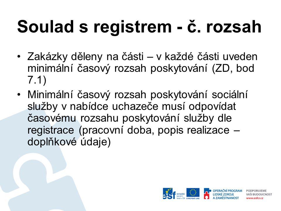 Soulad s registrem - cíl.skup.