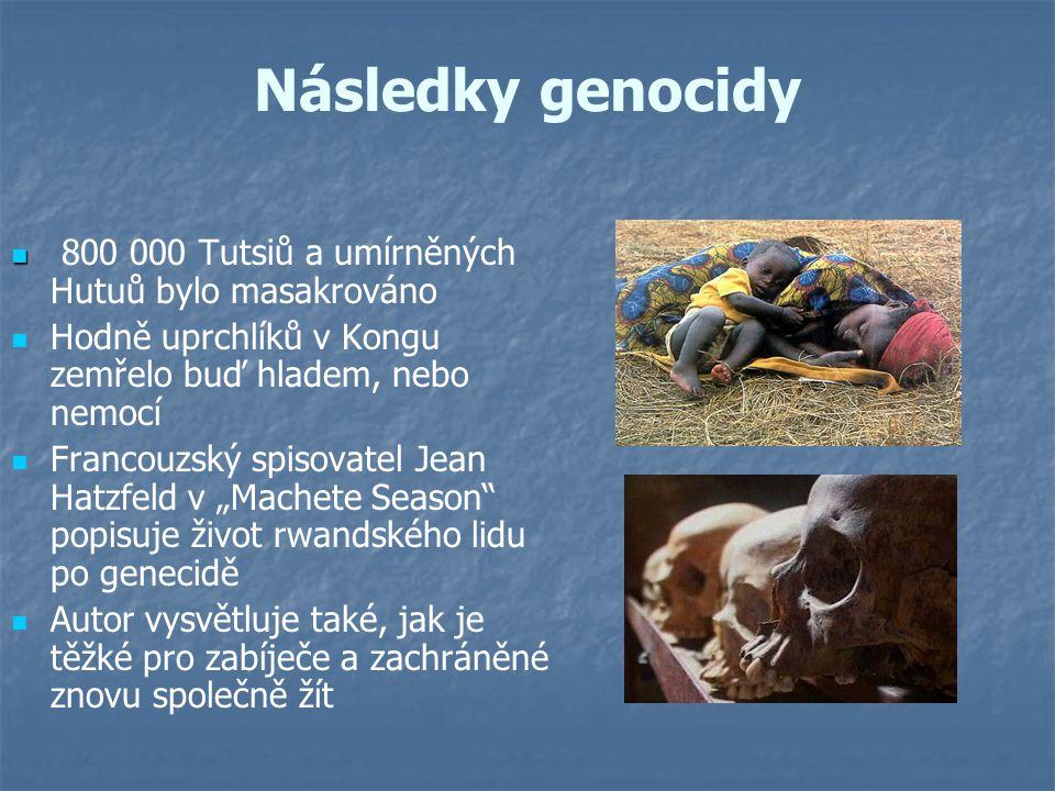 Následky genocidy 800 000 Tutsiů a umírněných Hutuů bylo masakrováno Hodně uprchlíků v Kongu zemřelo buď hladem, nebo nemocí Francouzský spisovatel Je