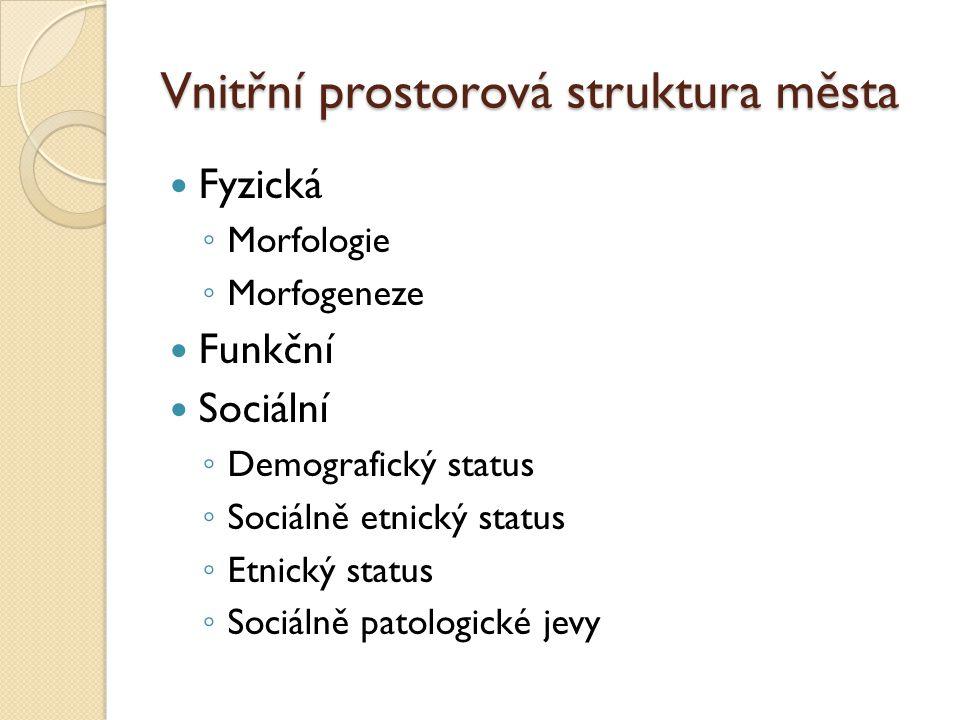 Vnitřní prostorová struktura města Fyzická ◦ Morfologie ◦ Morfogeneze Funkční Sociální ◦ Demografický status ◦ Sociálně etnický status ◦ Etnický statu