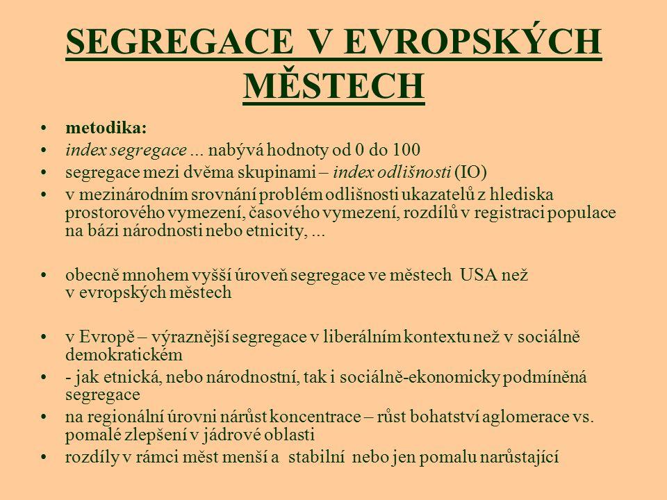 SEGREGACE V EVROPSKÝCH MĚSTECH metodika: index segregace... nabývá hodnoty od 0 do 100 segregace mezi dvěma skupinami – index odlišnosti (IO) v meziná