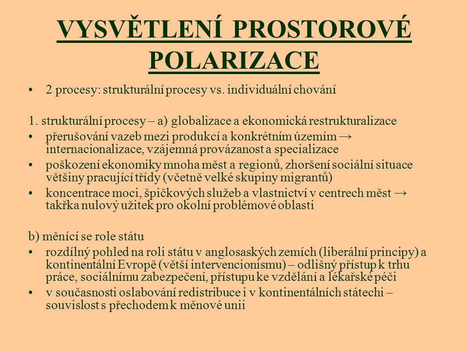VYSVĚTLENÍ PROSTOROVÉ POLARIZACE 2 procesy: strukturální procesy vs. individuální chování 1. strukturální procesy – a) globalizace a ekonomická restru