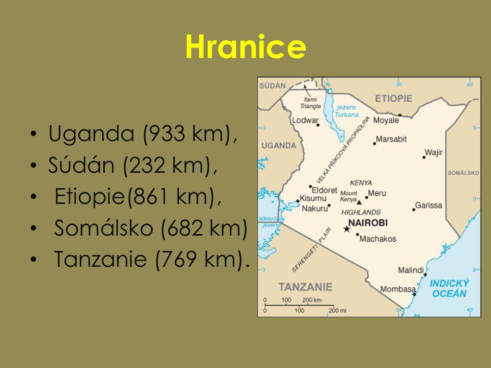 Hranice Uganda (933 km), Súdán (232 km), Etiopie(861 km), Somálsko (682 km) Tanzanie (769 km).