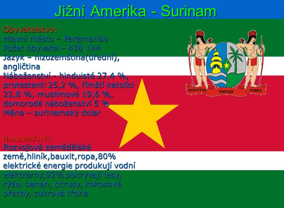 Jižní Amerika - Surinam Obyvatelstvo: Hlavní město – Paramaribo Počet obyvatel - 438 144 Jazyk – nizozemština(úřední), angličtina Náboženství - hindui