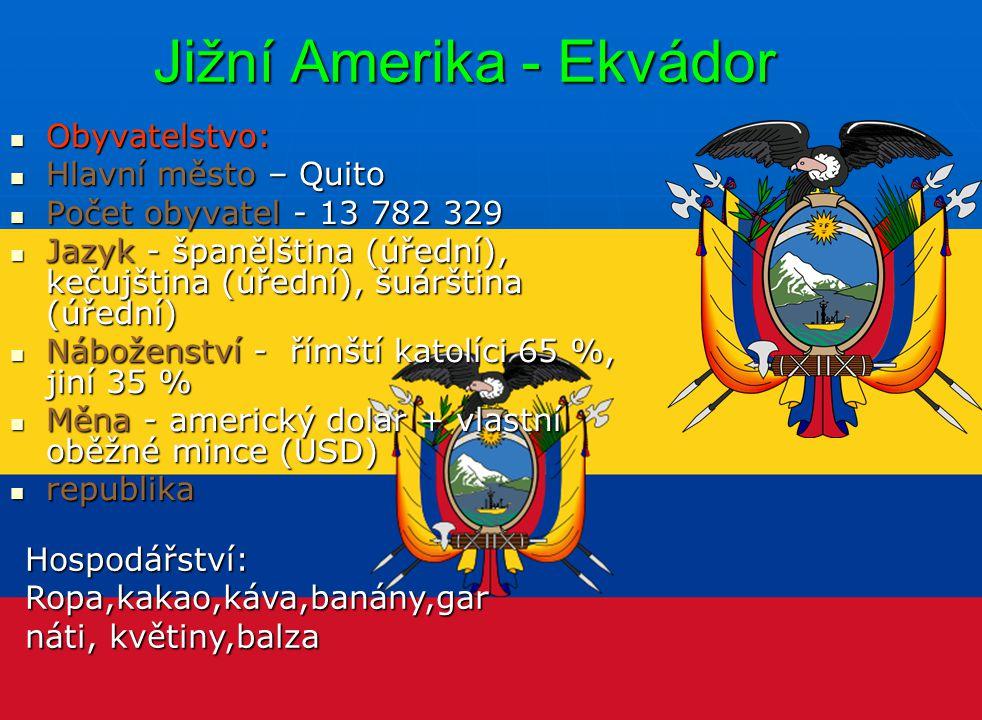 Jižní Amerika - Ekvádor Obyvatelstvo: Obyvatelstvo: Hlavní město – Quito Hlavní město – Quito Počet obyvatel - 13 782 329 Počet obyvatel - 13 782 329