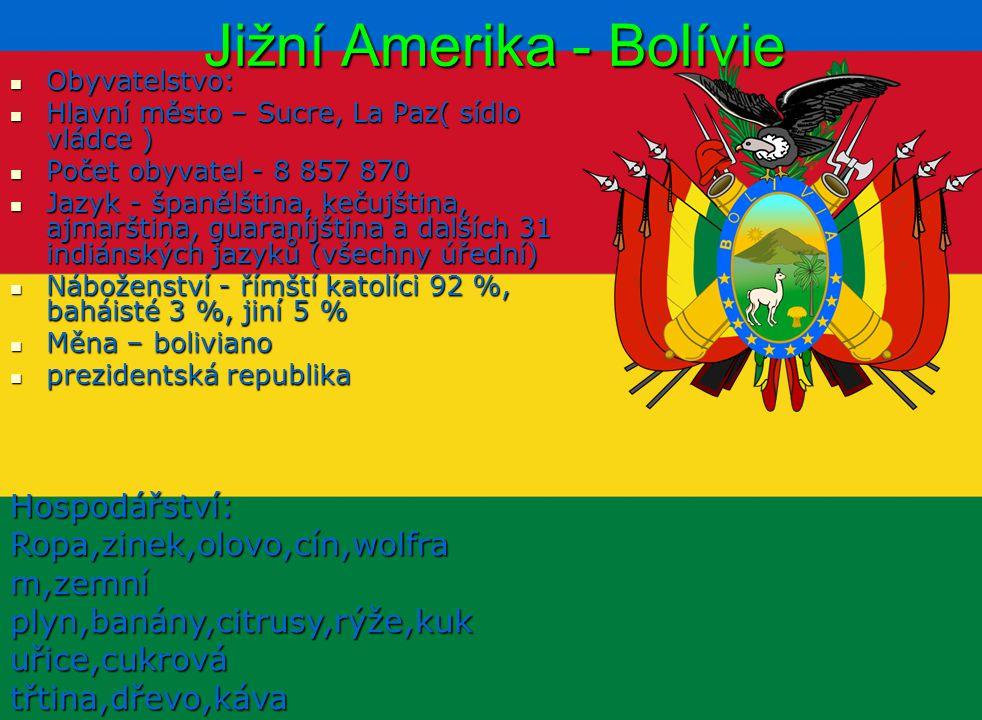 Jižní Amerika - Bolívie Obyvatelstvo: Obyvatelstvo: Hlavní město – Sucre, La Paz( sídlo vládce ) Hlavní město – Sucre, La Paz( sídlo vládce ) Počet ob