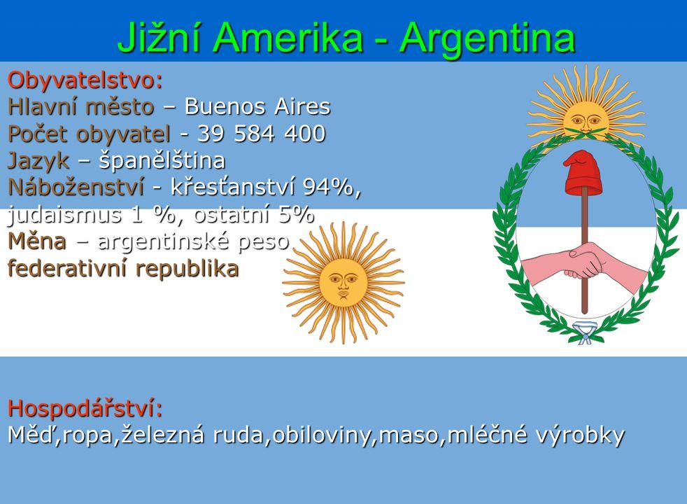Jižní Amerika - Argentina Obyvatelstvo: Hlavní město – Buenos Aires Počet obyvatel - 39 584 400 Jazyk – španělština Náboženství - křesťanství 94%, jud