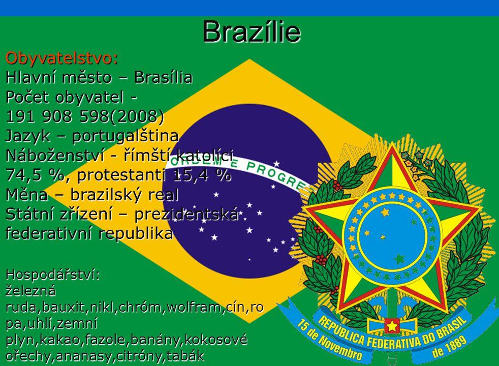 BrazílieObyvatelstvo: Hlavní město – Brasília Počet obyvatel - 191 908 598(2008) Jazyk – portugalština Náboženství - římští katolíci 74,5 %, protestan
