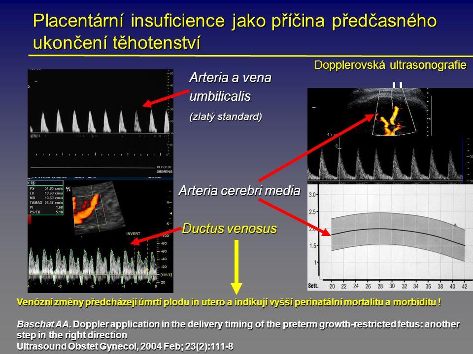 Placentární insuficience jako příčina předčasného ukončení těhotenství Arteria a vena umbilicalis umbilicalis (zlatý standard) (zlatý standard) Arteria cerebri media Ductus venosus !.