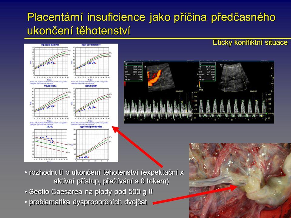 Placentární insuficience jako příčina předčasného ukončení těhotenství rozhodnutí o ukončení těhotenství (expektační x aktivní přístup, přežívání s 0 tokem) Sectio Caesarea na plody pod 500 g !.