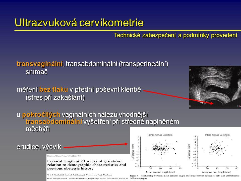 Ultrazvuková cervikometrie transvaginální, transabdominální (transperineální) snímač měření bez tlaku v přední poševní klenbě (stres při zakašlání) u