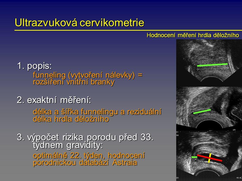 Ultrazvuková cervikometrie 1. popis: funneling (vytvoření nálevky) = rozšíření vnitřní branky 2. exaktní měření: délka a šířka funnelingu a reziduální
