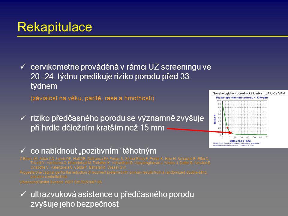 Rekapitulace cervikometrie prováděná v rámci UZ screeningu ve 20.-24. týdnu predikuje riziko porodu před 33. týdnem (závislost na věku, paritě, rase a