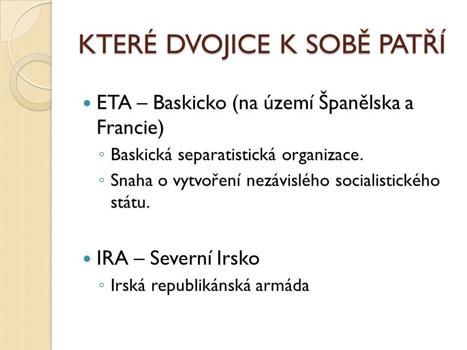 KTERÉ DVOJICE K SOBĚ PATŘÍ ETA – Baskicko (na území Španělska a Francie) ◦ Baskická separatistická organizace.