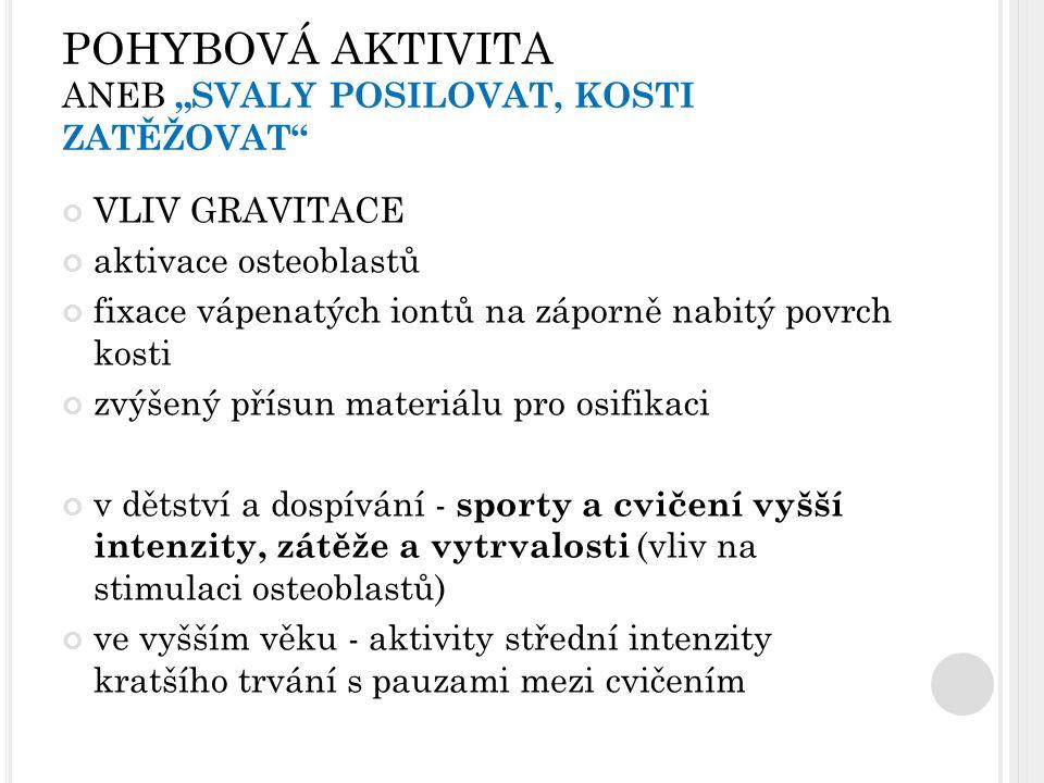 """POHYBOVÁ AKTIVITA ANEB """"SVALY POSILOVAT, KOSTI ZATĚŽOVAT"""" VLIV GRAVITACE aktivace osteoblastů fixace vápenatých iontů na záporně nabitý povrch kosti z"""