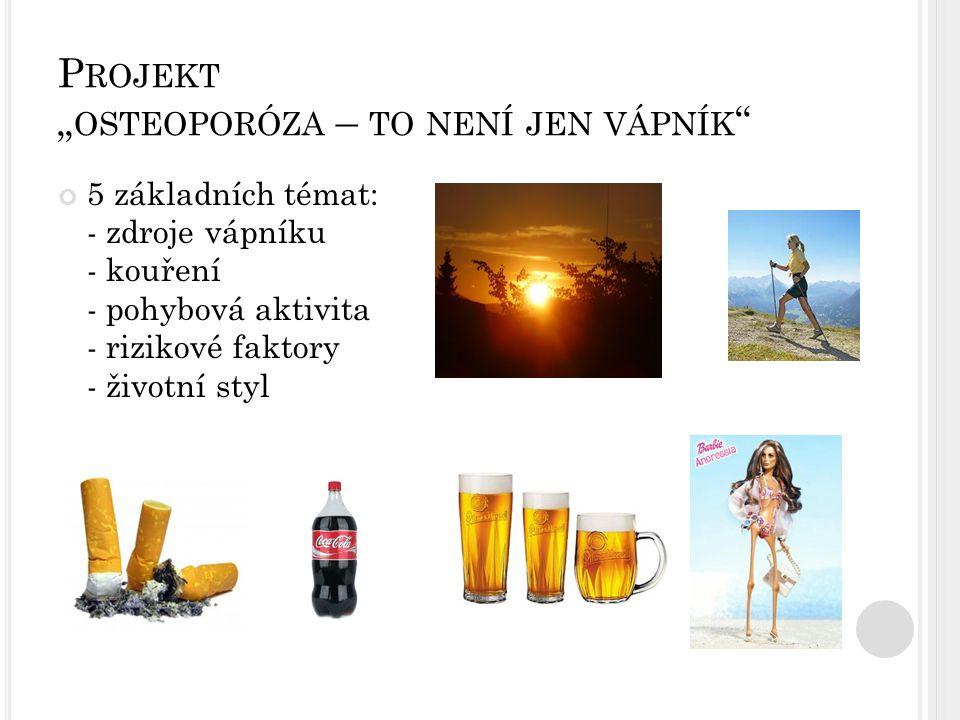 """P ROJEKT """" OSTEOPORÓZA – TO NENÍ JEN VÁPNÍK """" 5 základních témat: - zdroje vápníku - kouření - pohybová aktivita - rizikové faktory - životní styl"""