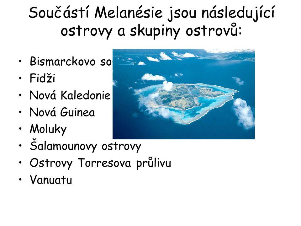 Součástí Melanésie jsou následující ostrovy a skupiny ostrovů: Bismarckovo souostroví Fidži Nová Kaledonie Nová Guinea Moluky Šalamounovy ostrovy Ostr