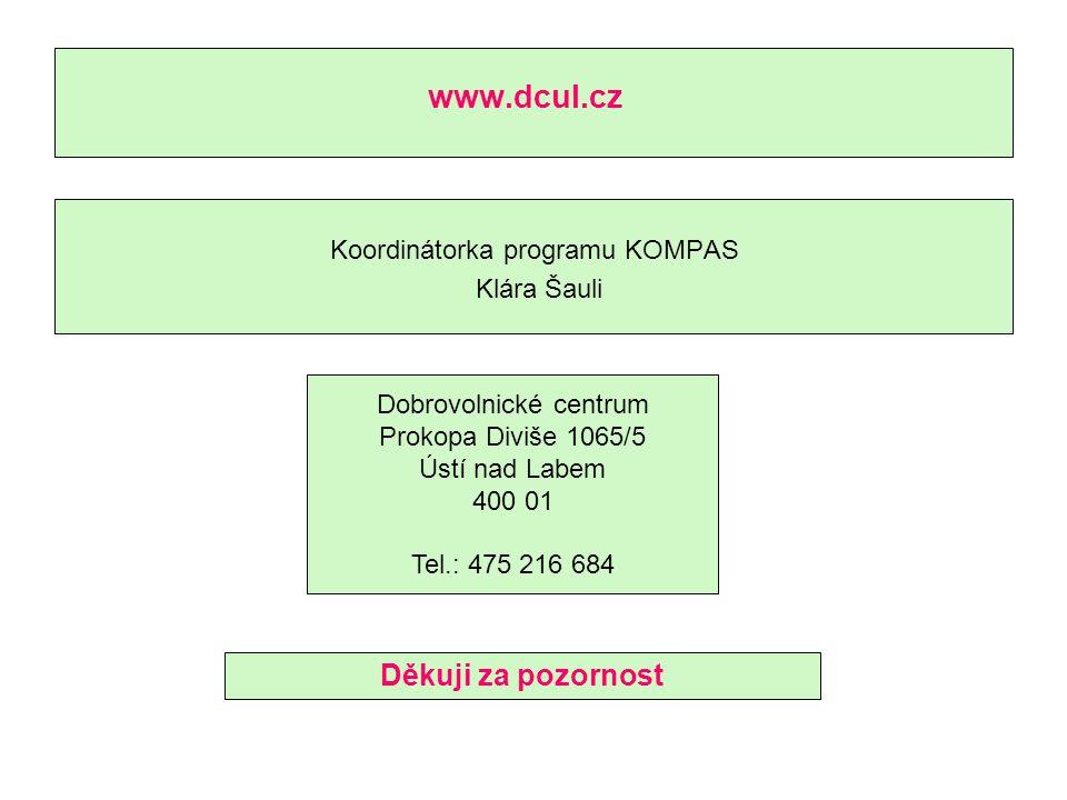 www.dcul.cz Koordinátorka programu KOMPAS Klára Šauli Dobrovolnické centrum Prokopa Diviše 1065/5 Ústí nad Labem 400 01 Tel.: 475 216 684 Děkuji za pozornost